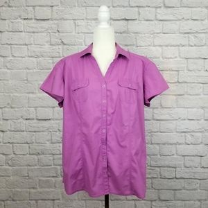 Style & Co purple snap button short sleeve top